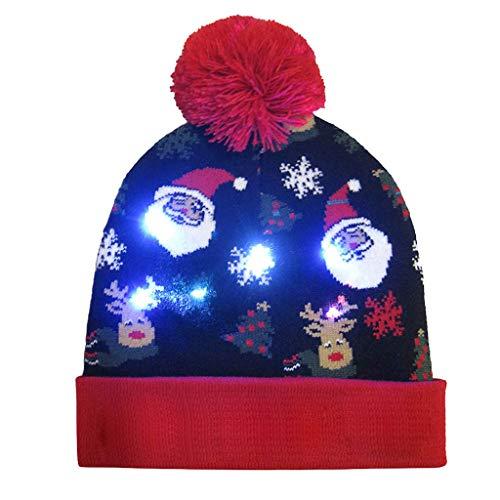 UFODB Christmas Caps Herren Damen Unisex Beleuchten Bunte Lichter Weihnachten Cap LED Light-Up Gestrickter Hässlicher Pullover Holiday Xmas ()