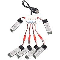 YouCute 1to6 Ladegerät und 6 Stück 3.7V 680mAh Batterien für Rayline R807 R806 R8, UDI U818A U818-HD U817A, Wltoys V959 V929, Lishi Spielzeug L6036 L6039 L6052 RC Quadcapter Ersatzteile Zubehör