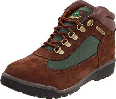 Timberland Leather and Fabric Field Boot (Toddler/Little Kid/Big Kid),Brown/Olive,4 M US Big Kid