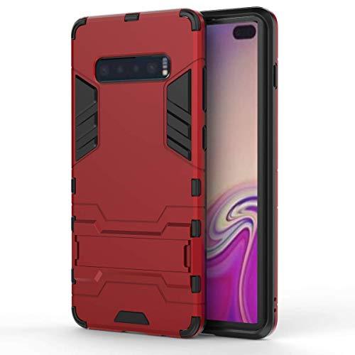 KISCO pour Coque Samsung Galaxy S10 Plus,Housse Coque Doux TPU et PC Hybride Frame Anti-Chocs Etui de Protection avec Support,pour Samsung Galaxy S10 Plus-Rouge