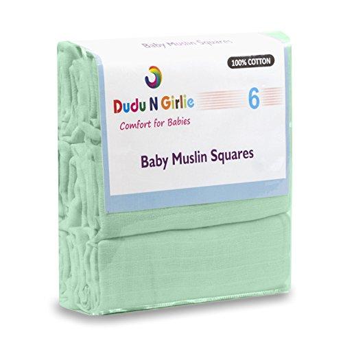 rozent Baumwolle Baby Musselintücher, 70cm x 70cm, 6-teilig, mint (Mint-grün-dekor)
