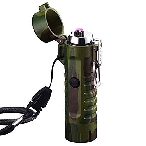 Mechero impermeable USB de doble arco de plasma, linternas de alta lumen, sin llama, resistente al viento, para exteriores, camping, senderismo, aventura, supervivencia, barbacoa A