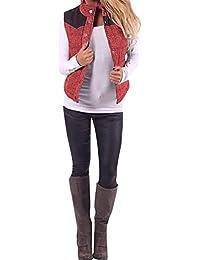 BaZhaHei Suéter sin Mangas con Cuello Alto de Mujer Blusa Camisas Abrigo  Sudadera de Mujer Chaqueta de Punto con… 8e96842d45c1