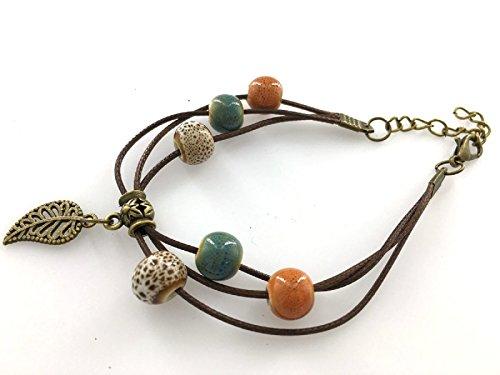 Piumino da donna/ragazza, collezione Fashion braccialetto nazione in foglia, Arancione/Sabbia Spot/melange in metallo smaltato con perline blu e verde