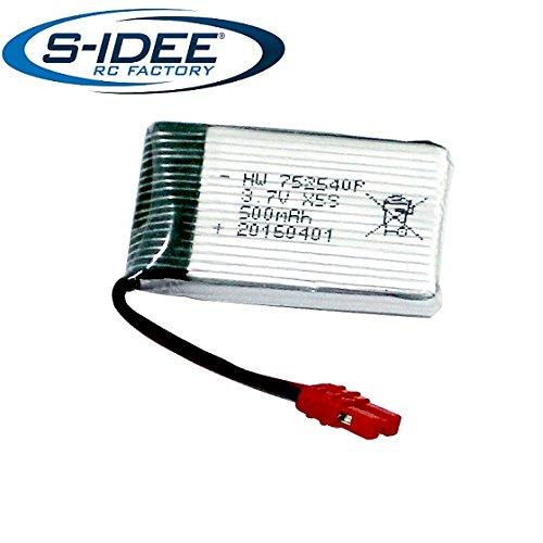 s-idee® 01651 | 1 x 3,7V 500 mAh Akku für Quadrocopter s-idee X5HW oder X5HC Quadro mit HD Kamera