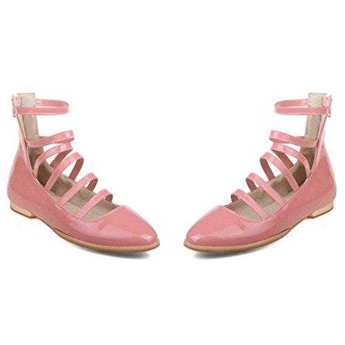 TAOFFEN Femmes Mode Fermeture Eclair Escarpins pink