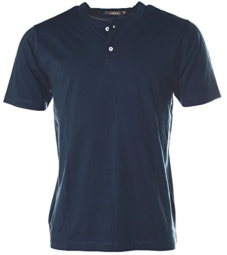 Kitaro Herren Kurzarm Shirt T-Shirt Rundhals Navy