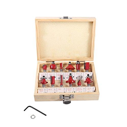 Oberfräsen set,Fräser Holzschneider Set robust Carving Machine Messerkopf holzfräser Set Fräser Set-Box YG8 Zementkarbid 12 Stück Holz Boxed 8mm rot