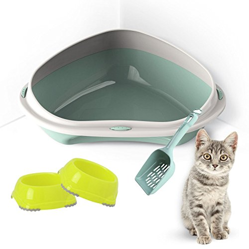 Cat Katzenklo Pink (Großes oder Jumbo Katzenklo oder Katzenecke für Katzen oder junge Kätzchen + 2Schalen für Essen und Trinken + Schaufel mit abnehmbarem Rand WC-Pfanne Box Haustier Katzentoilette)