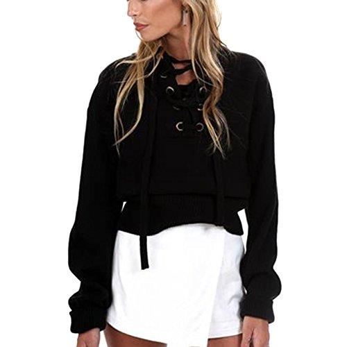 Pullover Damen V-Ausschnitt Langarm Strickpullover Frauen Volltonfarbe Kordelzug Oberteile Strickwaren Tops (S, Schwarz) (Kordelzug V-ausschnitt)