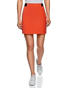 oodji Ultra Mujer Falda Corta con Acabado de Piel Sintética