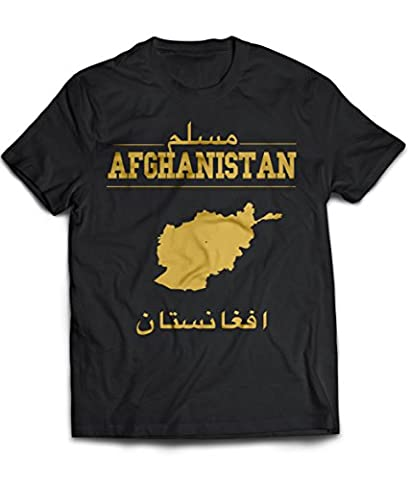 Muslim T-Shirt AFGHANISTAN: Islamic unisex T-Shirtin white und red with printed Arabic texture, Islamic clothing with country map and name (XXX-LARGE)