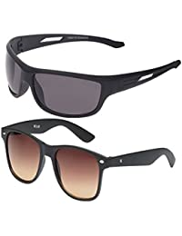 Vast Combo Of 2 Fashion All Day And Night Vision Biking , Driving And Sports Unisex Sunglasses (COMBO_B22331BLKBROWN_BK)