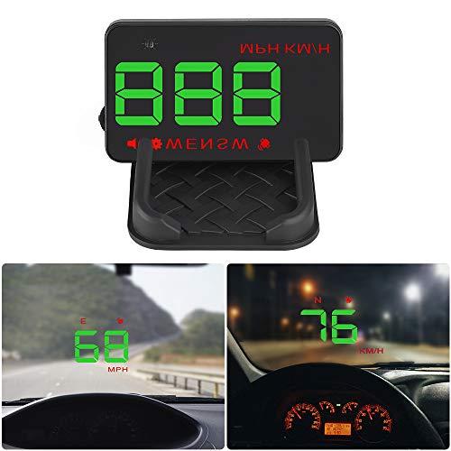 CARACHOME Head Up Display Auto, GPS HUD 3,5 Pollici,Parabrezza per Auto Dati Temperatura Batteria Proiettore con Interfaccia OBD2 II EUOBD,Tachimetro con Funzione Bussola Digitale.