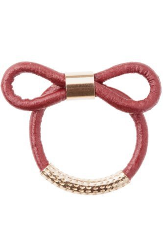 Schmuck Sale -ByBoe - Damen Ring Leder über 75% reduziert - Lederring mit Schleife - marrokansiches Rot - NR31-MR - Größe: 54