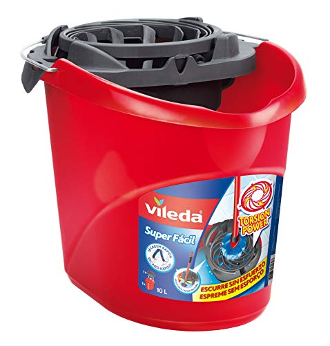 Vileda Torsion Power - Cubo superfácil, menos esfuerzo a la hora de escurrir, color rojo