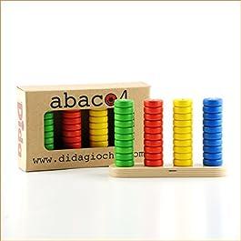 Dida – Abaco Verticale in Legno Base 4 – Gioco didattico per l'apprendimento delle Prime nozioni di Matematica.