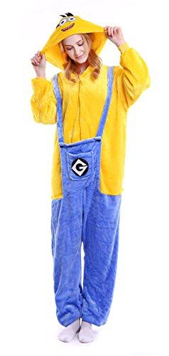 Dingwangyang Uinisex Erwachsene Pyjama Onesie Kigurumi Cosplay Kost¨¹me Tier Overall Minion-S (Peppa Halloween Kostüm)