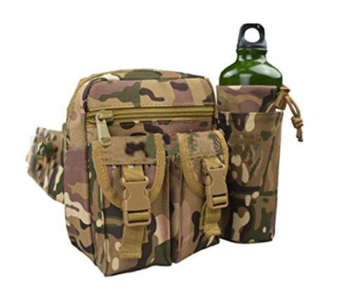 ModaKeusu Military Tactical Utility Taille Pack mit Wasser Flasche Taschenhalter wasserdicht Molle Fanny Outdoor Hüfte Gürteltasche Camping Wandern CP
