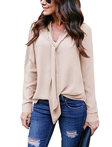 Hownew-X Damen Bluse Elegant Chiffon V-Ausschnitt Langarm Casual Oberteil Lose Langarmshirt V-Ausschnitt Vintage Tunika Hemd T-Shirt (S, Khaki) -