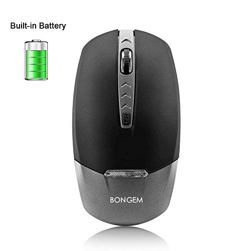 BONGEM kabellose Maus mit fortschrittlicher 2,4G Technologie, ideal für Laptop, Desktop-PC und Macbook, sehr leise, schnurlose Maus mit integriertem Akku, schwarz silber