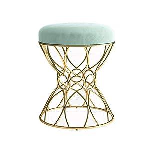 ChenBing Stuhl Frühstück Hocker Vanity Sitzhocker Round Mid-Century Modern Ottoman Fußbank Beistelltisch Abnehmbarer Metall Bein Design (Farbe, Größe : 38x45cm)