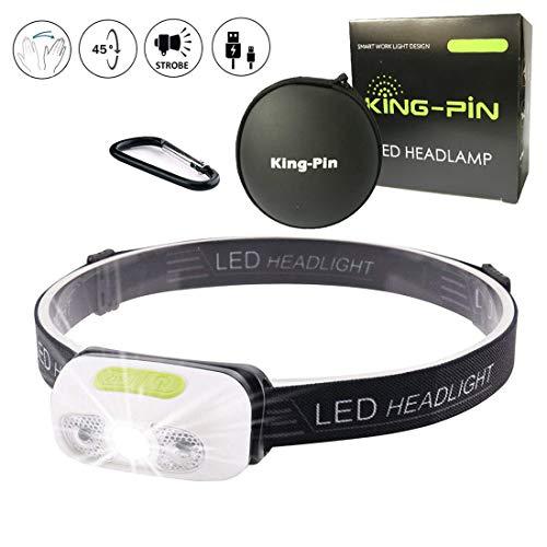 King-Pin stirn1 Kopflampe USB Wiederaufladbare Wasserdicht Leichtgewichts Mini 7 Leuchtmodi Perfekt fürs Laufen Jogging Campen Radfahren (LED Stirnlampe Sensor Induktion Weißes Licht), 3 W