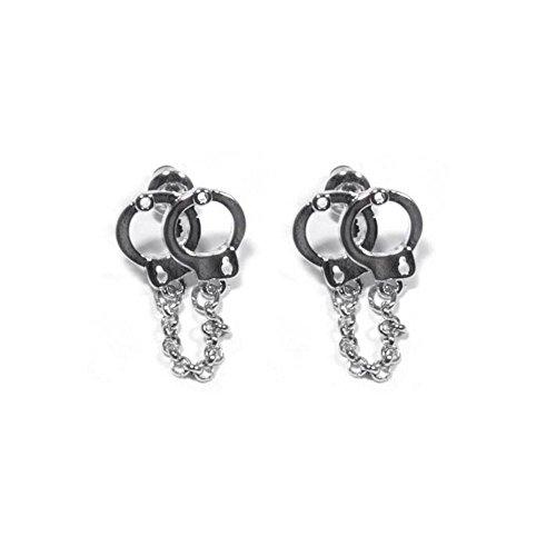 Mary Jane–Damen Ohrringe Fantaisie–Metall Silber (Handschellen)