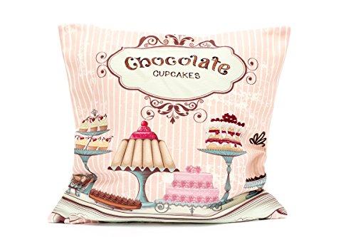 Kissenbezug Kaya 40x40cm Cupcake Muffin Torte Kissenhülle Vintage Torten Cupcakes Muffins Nostalgie Kissen Dekokissen