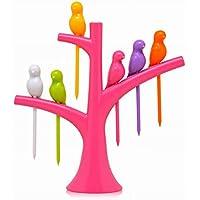 Fashion Creative Treetop - Tenedores de postre, diseño de pájaros, 1 juego de vajilla 14.7 * 14.5 * 3.5cm Rosy