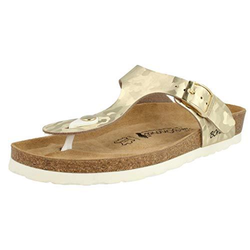 BOnova Damen Zehen-Trenner Ibiza in 14 Farben, stylische Pantolette mit Kork-Fußbett - Sandalen zum Wohlfühlen - hergestellt in der EU Gold Camouflage 38