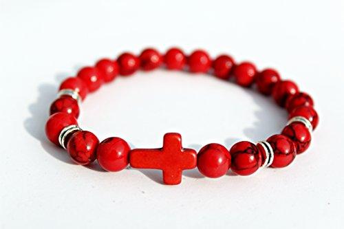 Lava Stein Perlen Kreuz Armband | Perlenarmband Herren | Armband Perlen schwarz | Armband mit Kreuz | Armband | Accessoire Männer | moderne Kette für Männer (Rot Joe)