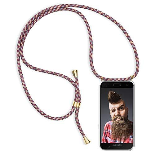 Zhinkarts Handykette kompatibel mit Samsung Galaxy A5 2017 (A520) - Smartphone Necklace Hülle mit Band - Schnur mit Case zum umhängen in Bordeaux/Rot Camouflage
