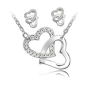 Parure Collier et Boucles d'oreille 2 Coeurs entrelacés et Chaîne en plaqué Or blanc 18 carats - Blanc