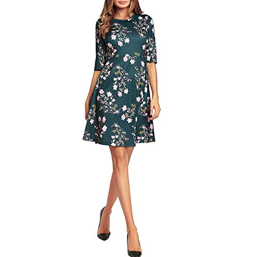 002 Damen Halbarm Floral Bedrucktes Minikleid Casual A-Linie Kleid (Color : Dark Green, Size : XL)