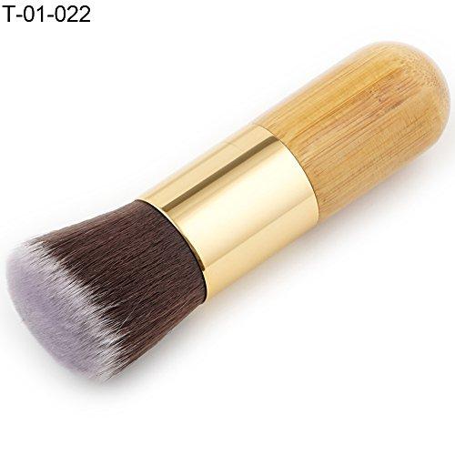 Wfz17 Fond de teint poudre Brosse Cosmétique Outil de maquillage Poignée en bambou Ombre à paupières lèvres Beauté