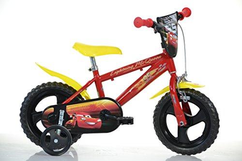 Cars Kinderfahrrad Lightning McQueen Jungenfahrrad – 12 Zoll | TÜV geprüft | Original Lizenz | Kinderrad mit Stützrädern - Das Fahrrad aus Cars als Geschenk für Jungen