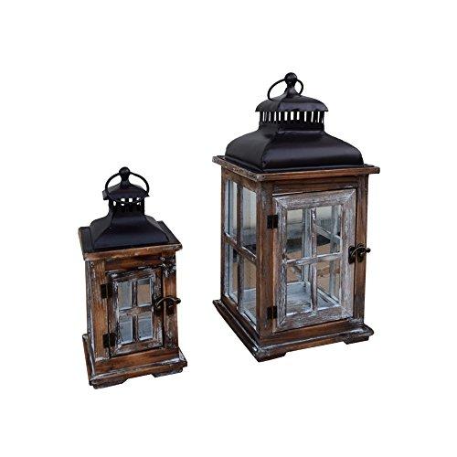 Mobili Rebecca® 2 pièces de Lanternes Pour Bougies Métal Bois Verre Décoration Maison (Cod. RE6014)