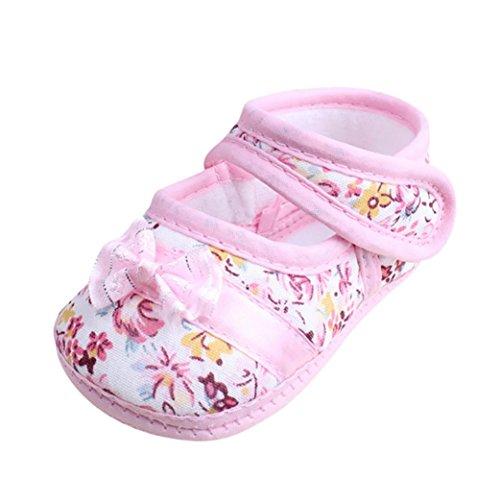 Igemy 1 Paar Baby Mädchen Soft Sole Bowknot Druck Anti-Rutsch Casual Schuhe Kleinkind Rosa