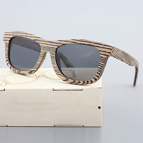 Zbertx Männer/Frauen Holz Bambus Sonnenbrille Zebra Grain Punk Style Mit,Gray