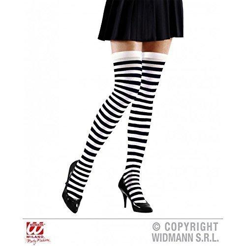 rz - weiß geringelte / gestreifte Srümpfe Overknees Halloweenstrümpfe ()