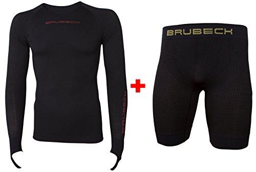 Brubeck - Set - 3D Motorbike PRO + 3D Base Layer PRO Herren Funktionsunterwäsche Lang   Langarm-Shirt + Boxershorts   LS13090 + LB10190, 3D Größe:M, 3D Farben:Set 3D - Schwarz -
