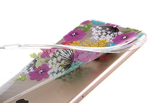iPhone 6S plus Case,iPhone 6 plus Cover, Felfy Apple iPhone 6/6S plus 5.5 inch Rosa weiße Blume Muster Intarsien Shiny Funkeln Diamant Design Ultra Dünne weiche TPU Gel Silikon Transparent Clear Cryst Lila Grün Blume