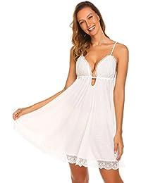 c2ec3b1642 ADOME Ladies Sexy Chemise Nightdress Deep V Neck Backless Hole Lace  Lingerie Sleep Dress nightwear