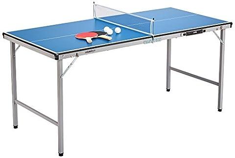 Relaxdays Midi Tischtennistisch (150 x 67 x 71 cm) tragbar für Wohnzimmer & Garten mit Ball & Schläger - Tischtennisplatte Outdoor mit Tischtennis-Set zum Zusammenklappen &