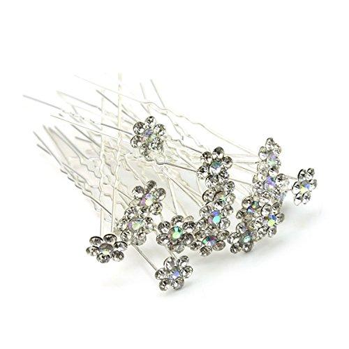Pixnor 20pcs Mariée U épingles à cheveux pinces à cheveux-Bling strass cristal(blanc)