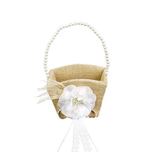ULTNICE Blumenkinderkörbchen Hochzeit Biedermeierkorb mit Weiß Perlen und Deko Blüte