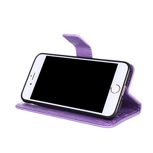 Custodia in pelle per iPhone 7 Cover, Zcro Stile Elegante di Cuoio Magnetica Flip del Libro Fiori Farfalla Custodia Portafoglio Case con Titolare della Carta Cinturino Nero Gratuito Penna Stilo per iP Viola Scuro