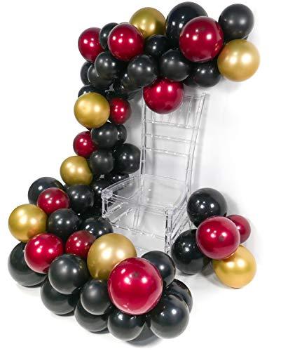 PuTwo Ballons Rot Schwarz Gold, 45 Stück Luftballons Satz von Ballons Matt Schwarz Ballons Weinrot und Ballons Metallic Gold, Latexballons für Partydeko Schwarz, Partydeko Weinrot, Partydeko Rot Gold