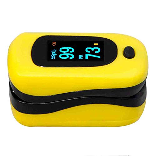 SXFYMWY Finger-Pulsoximeter Multifunktionales wasserdichtes Design Tragbar mit LED-Anzeige Blutsauerstoffmonitor Geeignet für eine Vielzahl von Personen,Yellow,35x30x60mm